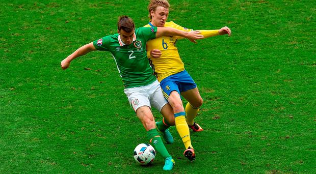 13 June 2016; Seamus Coleman of Republic of Ireland is tackled by Emil Forsberg of Sweden during the UEFA Euro 2016 Group E match between Republic of Ireland and Sweden at Stade de France in Saint Denis, Paris, France. Photo by Paul Mohan/Sportsfile
