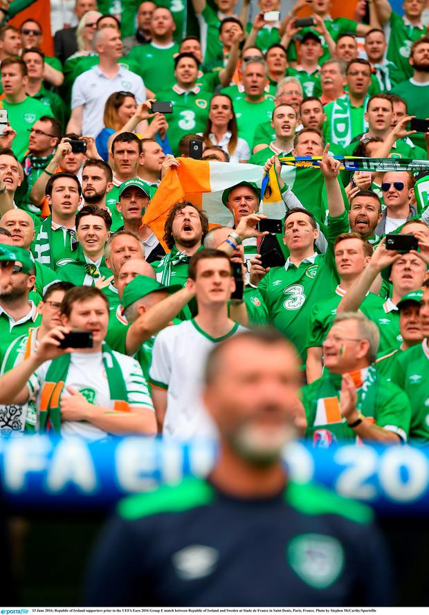 13 June 2016; Republic of Ireland supporters prior to the UEFA Euro 2016 Group E match between Republic of Ireland and Sweden at Stade de France in Saint Denis, Paris, France. Photo by Stephen McCarthy/Sportsfile