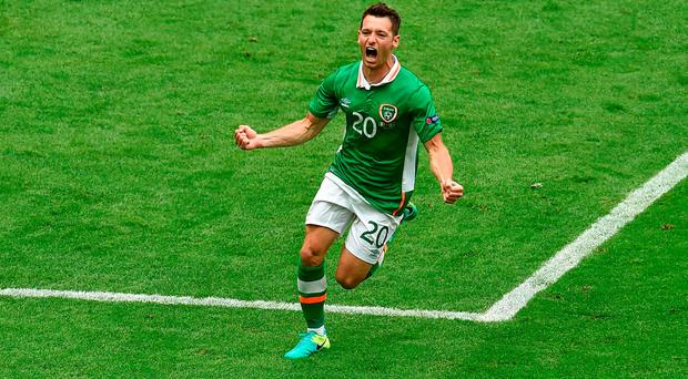 13 June 2016; Wes Hoolahan of Republic of Ireland celebrates after scoring his side's first goal during the UEFA Euro 2016 Group E match between Republic of Ireland and Sweden at Stade de France in Saint Denis, Paris, France. Photo by Paul Mohan/Sportsfile