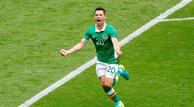 Republic of Ireland's Wes Hoolahan celebrates after scoring their first goal REUTERS/Charles Platiau