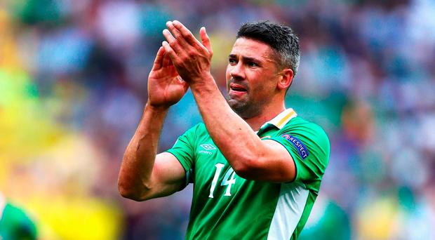Jon Walters of Republic of Ireland applauds the supporters as he walks off the pitch after replaced during the UEFA EURO 2016 Group E match between Republic of Ireland and Sweden at Stade de France on June 13, 2016 in Paris, France. (Photo by Clive Rose/Getty Images)