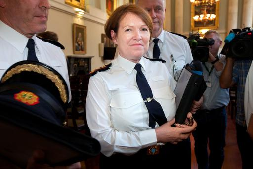 Garda Commissioner Norin O'Sullivan leaving the meeting of the Policing Authority. Photo: Tony Gavin