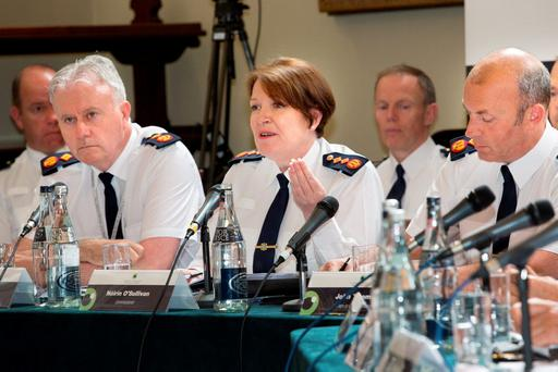 Garda Commissioner Norin O'Sullivan speaks at the meeting of the Policing Authority. Photo: Tony Gavin