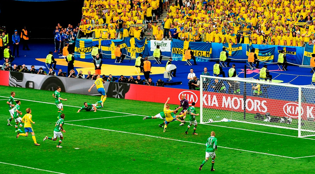 Ireland players can only watch as Ciaran Clark turns the ball into his own net. Photo: Paul Mohan/Sportsfile