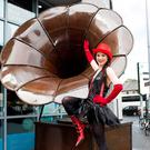 Actor Emma Regan, with giant sculpture 'The Gramaphone' by Donnacha Cahill, opens the Galway International Arts Festival box office at the Galway Tourist Office. Photo: Andrew Downes