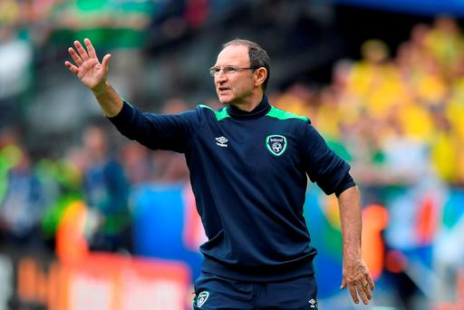 Martin O'Neill manager of Republic of Ireland gestures during the UEFA EURO 2016 Group E match between Republic of Ireland and Sweden at Stade de France