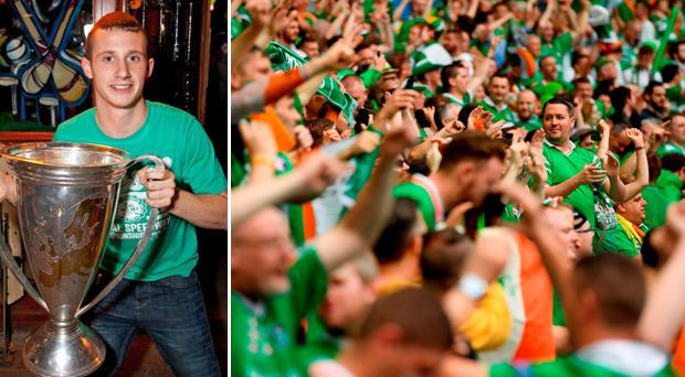 Darren Rodgers, left, was remembered by Republic of Ireland fans this evening