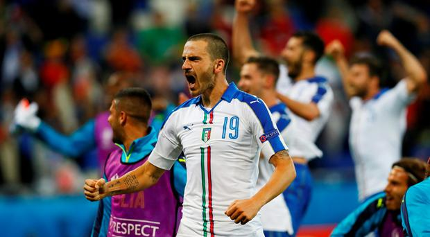 Italy's Leonardo Bonucci celebrates at the end of the match REUTERS/Jason Cairnduff