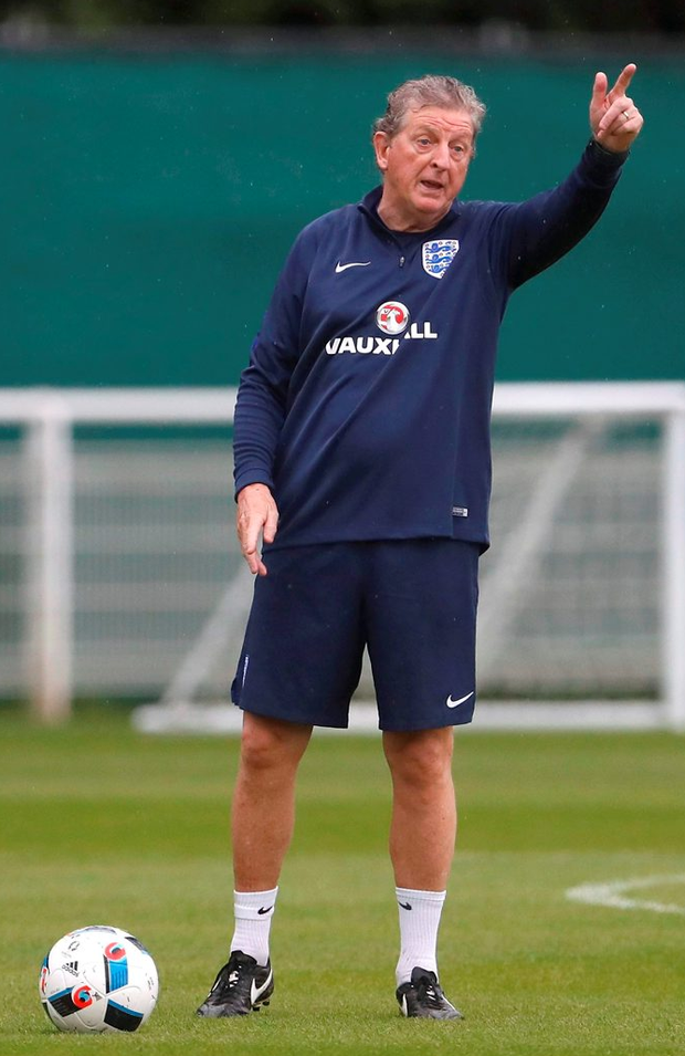 England manager Roy Hodgson, pictured during training at the Stade des Bourgognes, Chantilly ahead of Thursday's Euro 2016 Group B clash with Wales in Lens. Photo: Reuters/Lee Smith