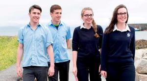 Evan Coyne (17), Ruadhán Ó Curraoín (18), Sarah Casburn (18) and Méabh Ní Dhonnacha (17) after sitting Irish Paper 1. Photo: Andrew Downes