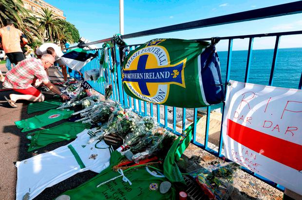Tributes for Northern Ireland fan Darren Rodgers who died during the Euro 2016 football tournament in Nice. Getty Images
