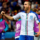 Italy's defender Leonardo Bonucci celebrates his team's 2-0 victory. Photo: Jeff Pachoud/Getty Images