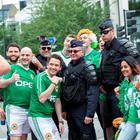 Irish supporters mingle with French police in Paris. Pic:Mark Condren