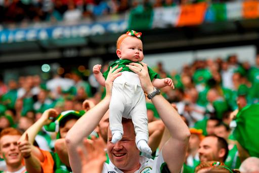 A young Republic fan celebrates during the game. Photo by Stephen McCarthy/Sportsfile