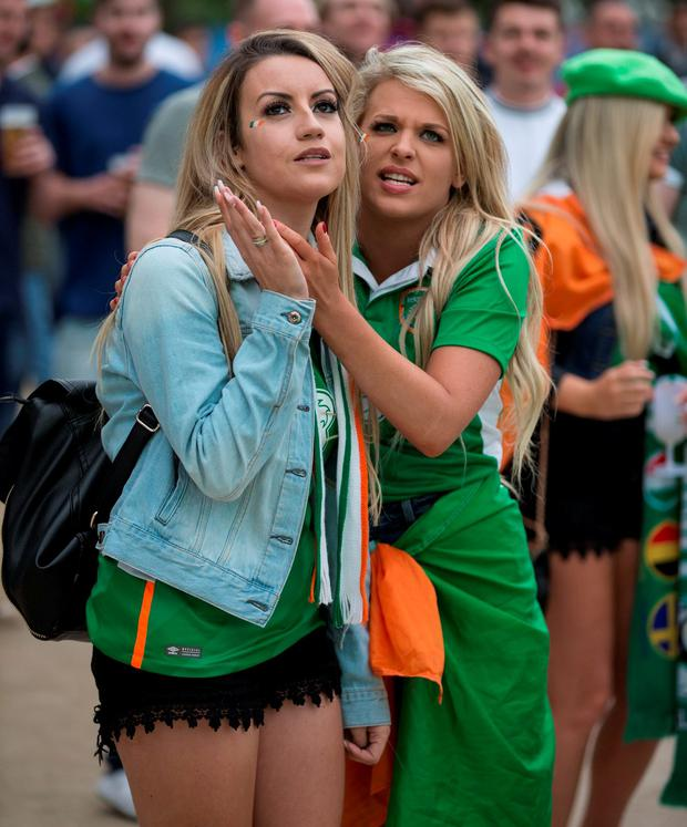 Sinead Croft and Danielle McNamee from Dublin watching the match in the Euro's 2016 fanzone in Paris. Pic:Mark Condren