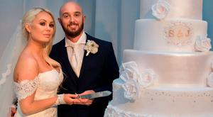 Stephen Ireland with his wife Jessica Lawlor, as the Premiership footballer has told how he refused to let a broken leg stop him walking down the aisle. Picture: Hello! Magazine/PA Wire