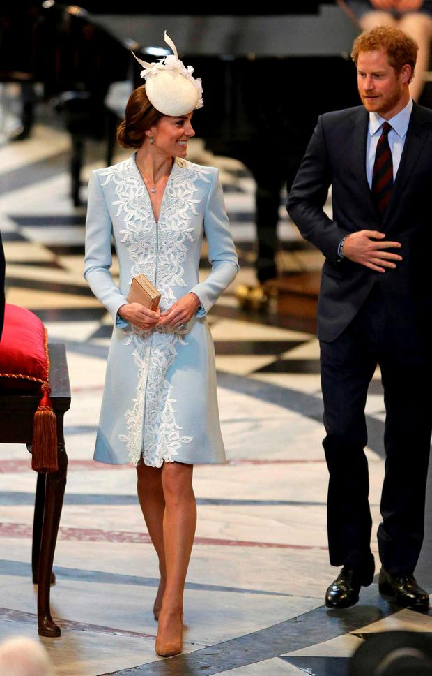 Britain's Prince Harry (R) and Catherine, Duchess of Cambridge arrive for a National Service of Thanksgiving to mark Queen Elizabeth's 90th birthday at St Paul's Cathedral