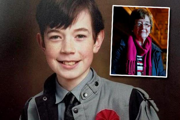 Philip Cairns pictured on his Confirmation Day and (inset) his mother Alice Cairns