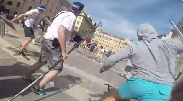 A mindless Russian thug captured the violence on his GoPro