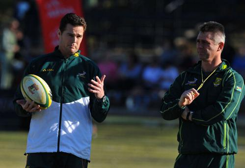 JOHANNESBURG, SOUTH AFRICA - JUNE 11: (L-R) Rassie Erasmus and South Africa's rugby coach Heyneke Meyer during the South African national rugby team training session at St Stithians College on June 11, 2012 in Johannesburg, South Africa. (Photo by Duif du Toit/Gallo Images/Getty Images)
