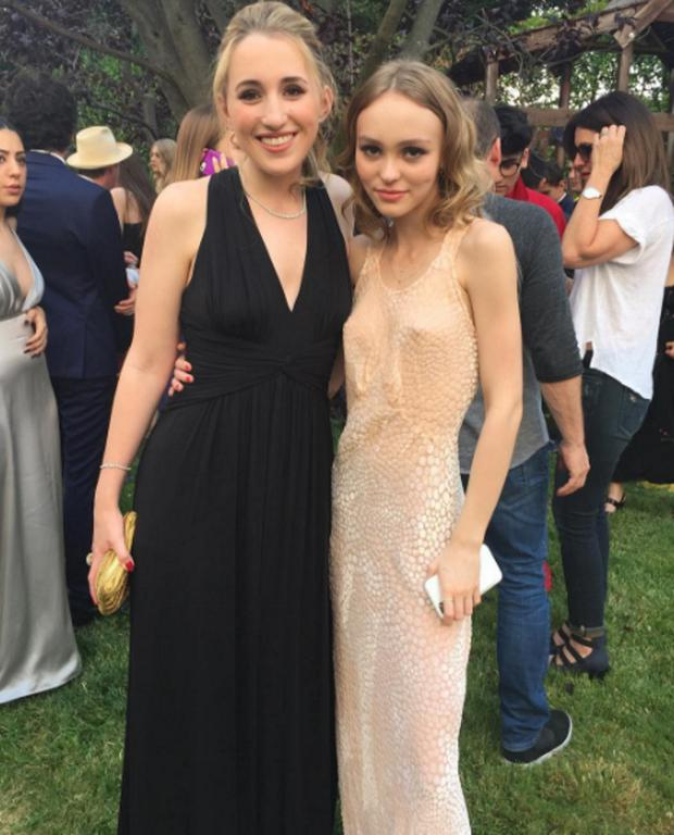 Lily Rose Depp, pictured with Harley Quinn Smith, at her high school prom. Picture: Kevin Smith/Instagram