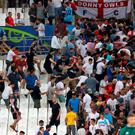 Tempers flare in the stands between Russia and England fans during the UEFA Euro 2016, Group B match at the Stade Velodrome, Marseille on Saturday