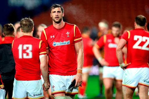 Wales captain Luke Charteris shows his disapointment following the International Test match between the Chiefs and Wales at Waikato Stadium