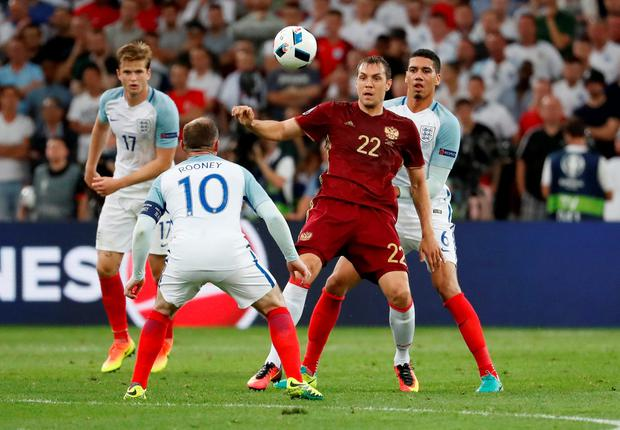 Russia's Artem Dzyuba in action against England at the weekend