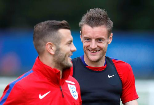 England's Jamie Vardy and Jack Wilshere during training