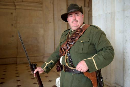 Paul Callery pictured in City Hall where his grand uncle fought in 1916. Photo: Bryan Meade.