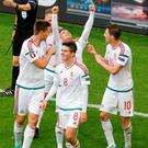 Hungary's Zoltan Stieber celebrates after scoring their second goal