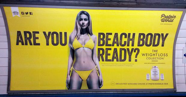 Last summer, Protein World's 'Beach Body Ready' Tube ads sparked a huge backlash in London about body shaming and objectifying women. Photo: PA