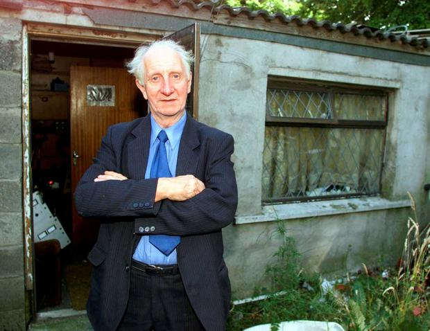 Eamon Cooke pictured outside his Radio Dublin studio in Clondalkin in 2001. Photo: Collins