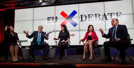 Left to right: Priti Patel, Boris Johnson, host Aasmah Mir, Liz Kendall and Alex Salmond taking part in a EU debate in London. Photo: David Rose/The Daily Telegraph