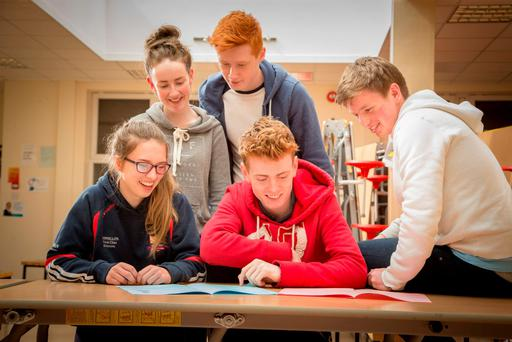 Leaving Cert students Sinead Naughton, Muireann Moylan, Lewis Beardshall, Eddie Douglas and Stephen Tuffy at Jesus and Mary Secondary School, Enniscrone, Co Sligo. Photo: James Connolly