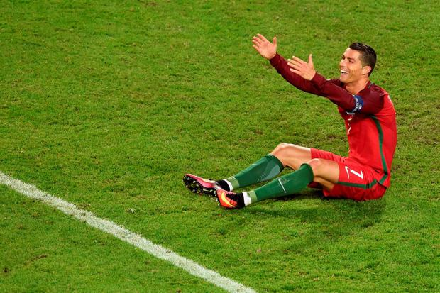 Cristiano Ronaldo reacts during the Euro 2016 group F football match between Portugal and Iceland