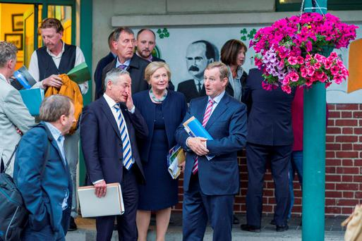 Richard Bruton TD, Frances Fitzgerald TD and Taoiseach Enda Kenny meeting local representatives from North Inner City in Seville Place.