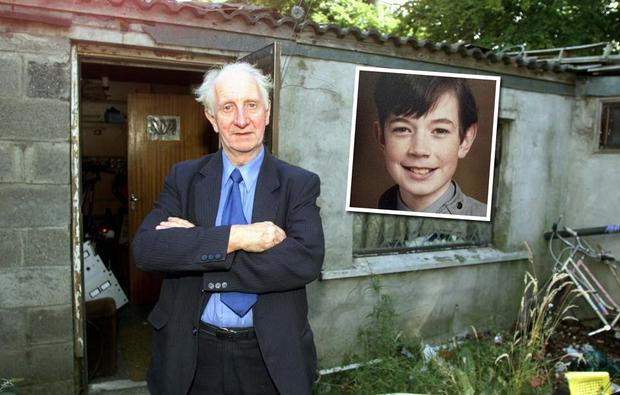 Eamon Cooke pictured outside his Radio Dublin studio in Clondalkin in 2001; Inset: Philip Cairns