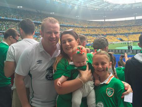 Eoin McCann, his wife Roisín, their baby daughter Aoife and her sister Emma (9) were all in the Stade de France last night to cheer on the Boys in Green.