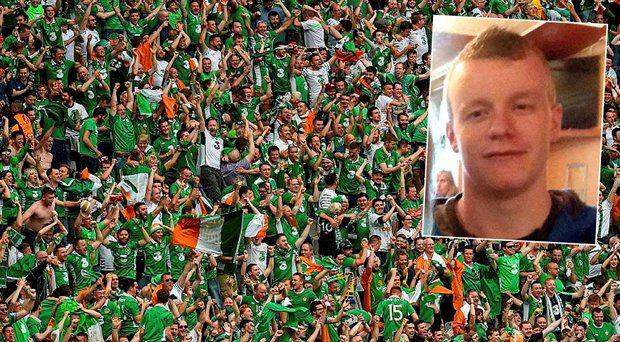 Missing fan Lee McLaughlin, inset, Irish fans celebrating during the Sweden game on Monday
