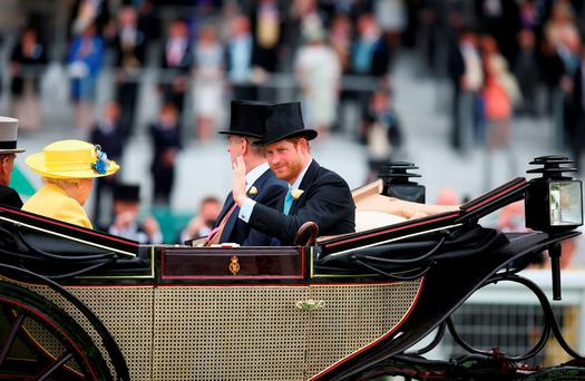 Queen Elizabeth II and Prince Harry during the Royal Procession on day 1 at Ascot Racecourse on June 14, 2016 in Ascot, England. (Photo by Charlie Crowhurst/Getty Images for Ascot Racecourse)