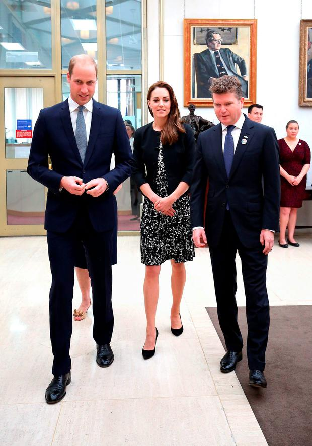 The Duke and Duchess of Cambridge with Matthew Barzun, US Ambassador to London, after signing a book of condolence for Orlando shooting victims at the US Embassy in London