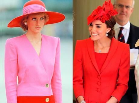 Princess Diana in Catherine Walker in 1989 and Kate Middleton in the same designer in 2016