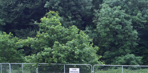 A sign has been erected to ward off potential trespassers. Photo: Facebook