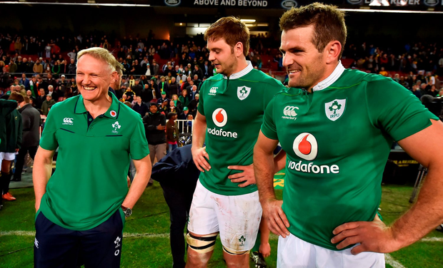 Ireland head coach Joe Schmidt, left, with Iain Henderson, centre, and Jared Payne after win over South Africa