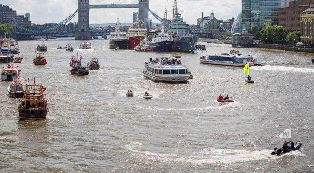 Nigel Farage's Brexit flotilla is met by rival boats near Tower Bridge Getty Images