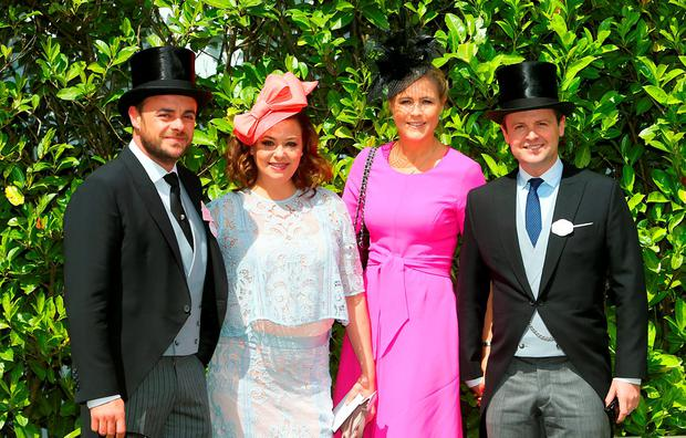 (From left to right) Anthony McPartlin, Lisa Armstrong, Ali Astall and Declan Donnelly during day two of Royal Ascot 2016, at Ascot Racecourse