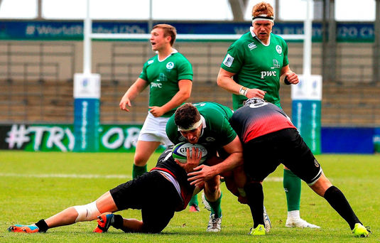 15 June 2016; Sean O'Connor of Ireland is tackled during the World Rugby U-20 Championships match between Ireland and Georgia at Manchester City Academy Stadium in Manchester, England. Photo by Matt McNulty/Sportsfile