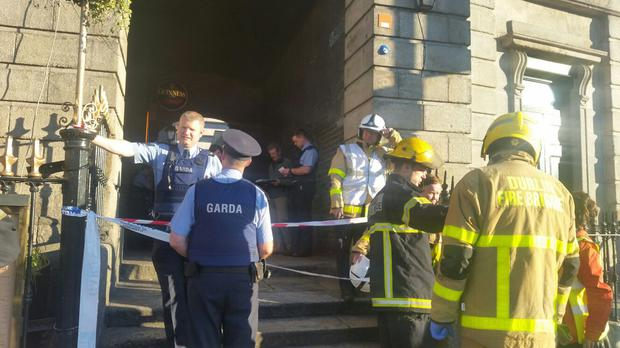 Emergency services at the scene in Templebar