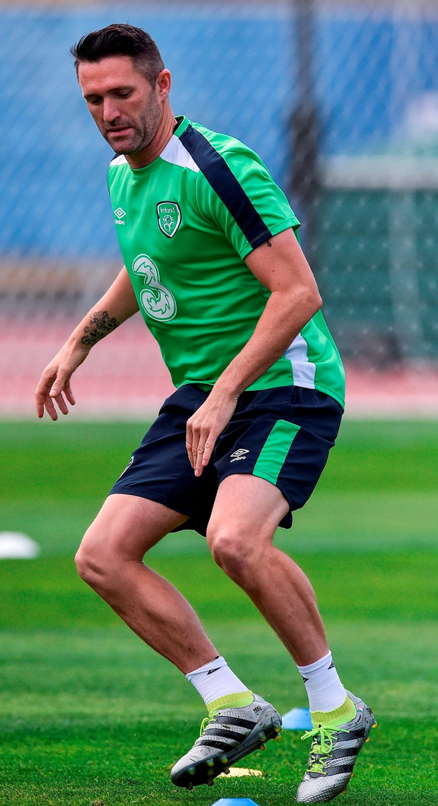 Robbie Keane is put through his paces during yesterday's training session. Photo: David Maher/Sportsfile